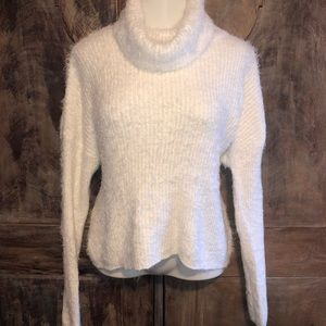 Fuzzy white turtle neck sweater